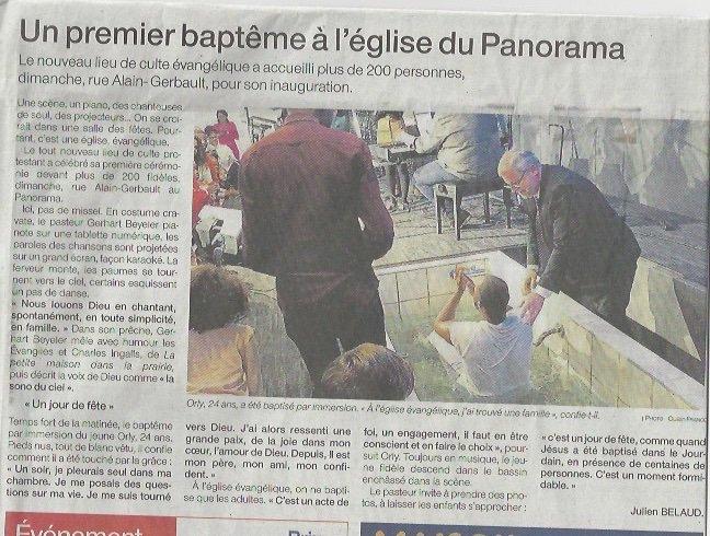 Article Ouest France culte inaugural et baptême d'adulte